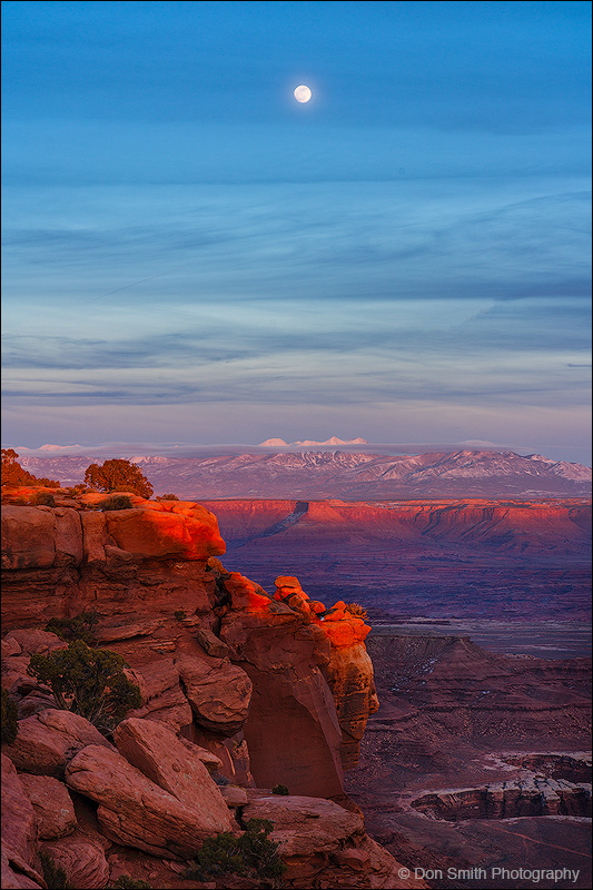 Moonrise Over La Sal Mountains, Canyonlands, NP