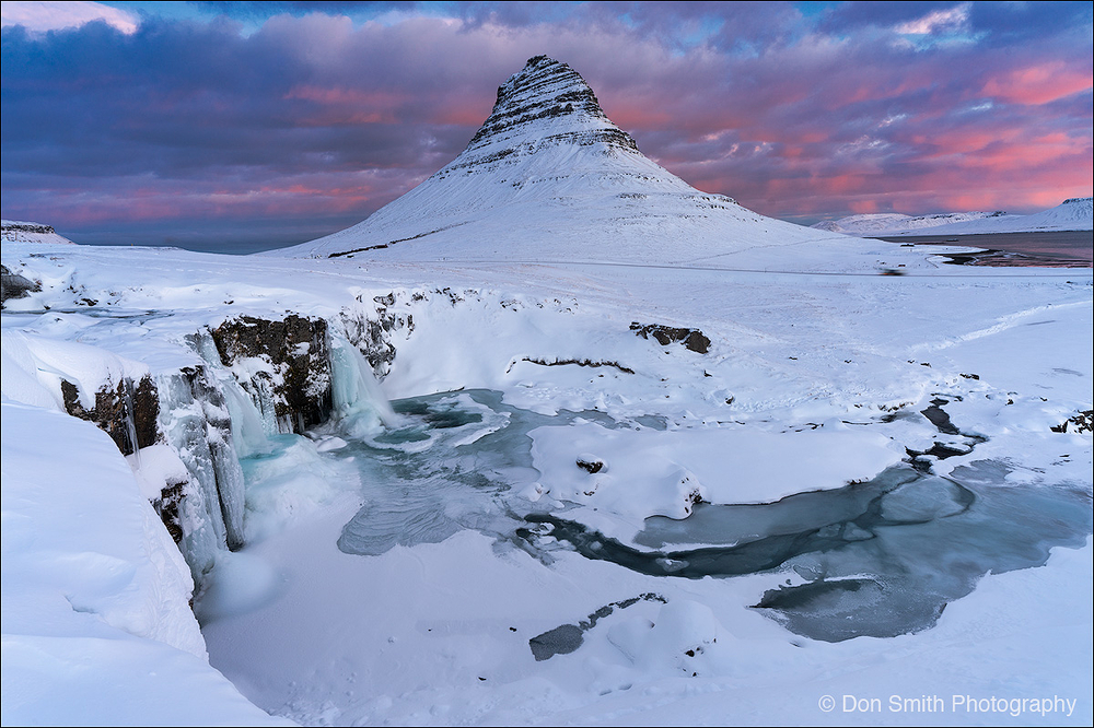 Winter Sunrise at Kirkjufellsfoss, Iceland