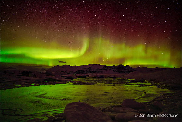 Aurora Over Glacier Lagoon, Iceland