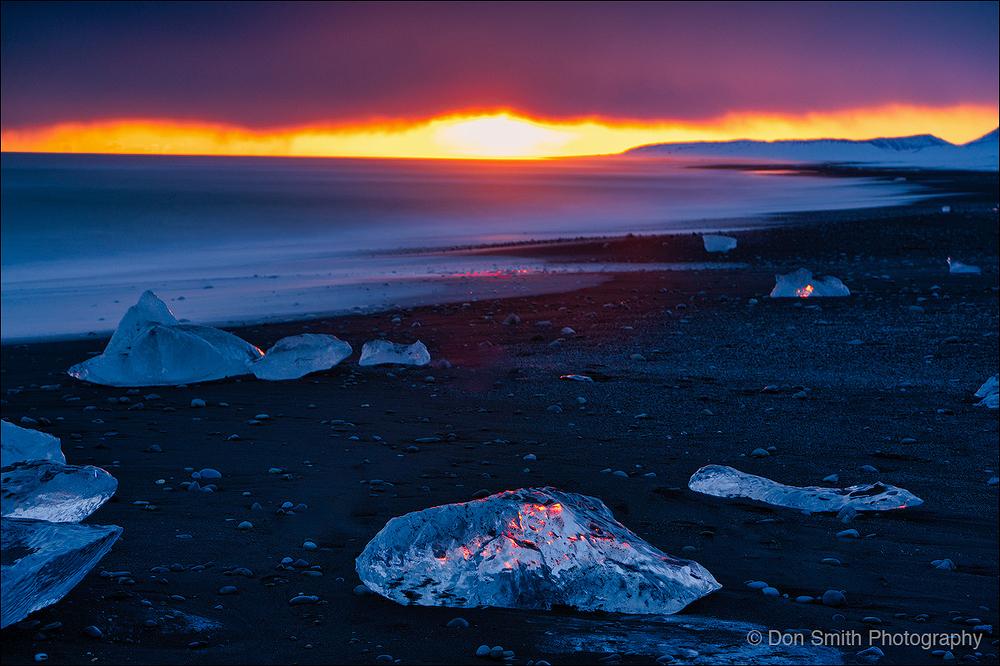 Sunset at Diamond Beach, Iceland