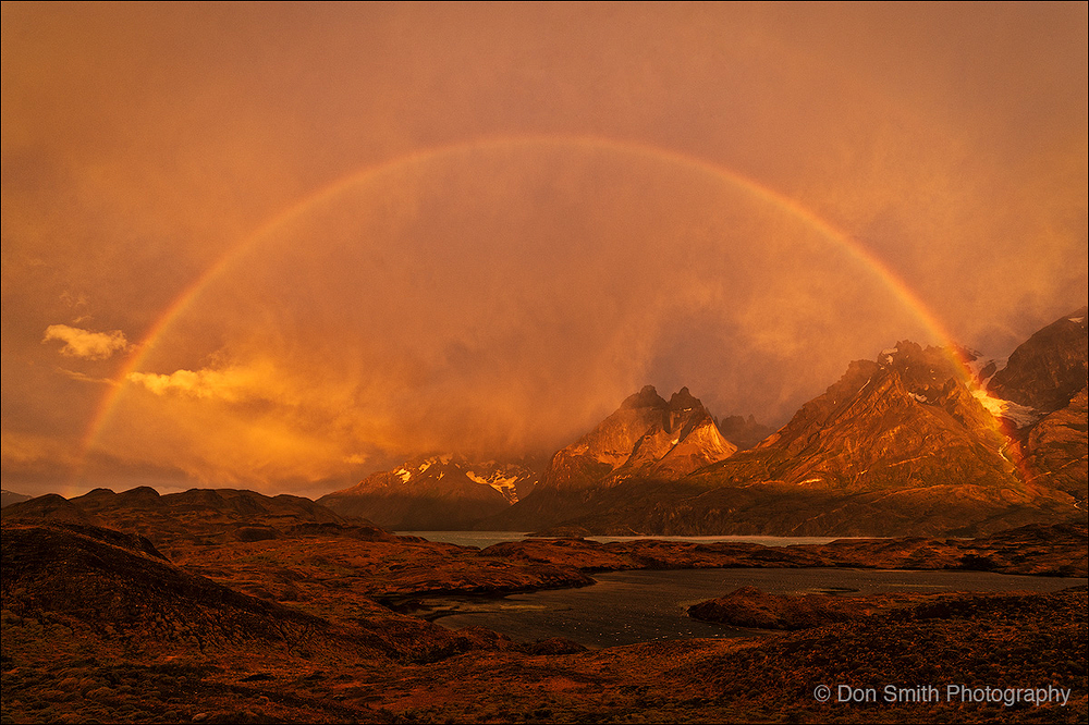 Full Rainbow Over Torres del Paine National Park