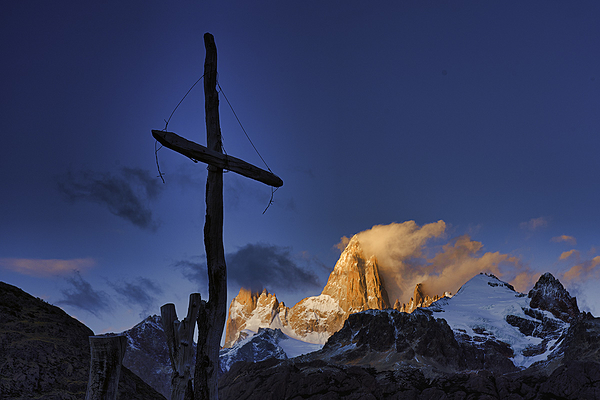 Mt. Fizreoy and Crucifix, Argentina at sunrise.