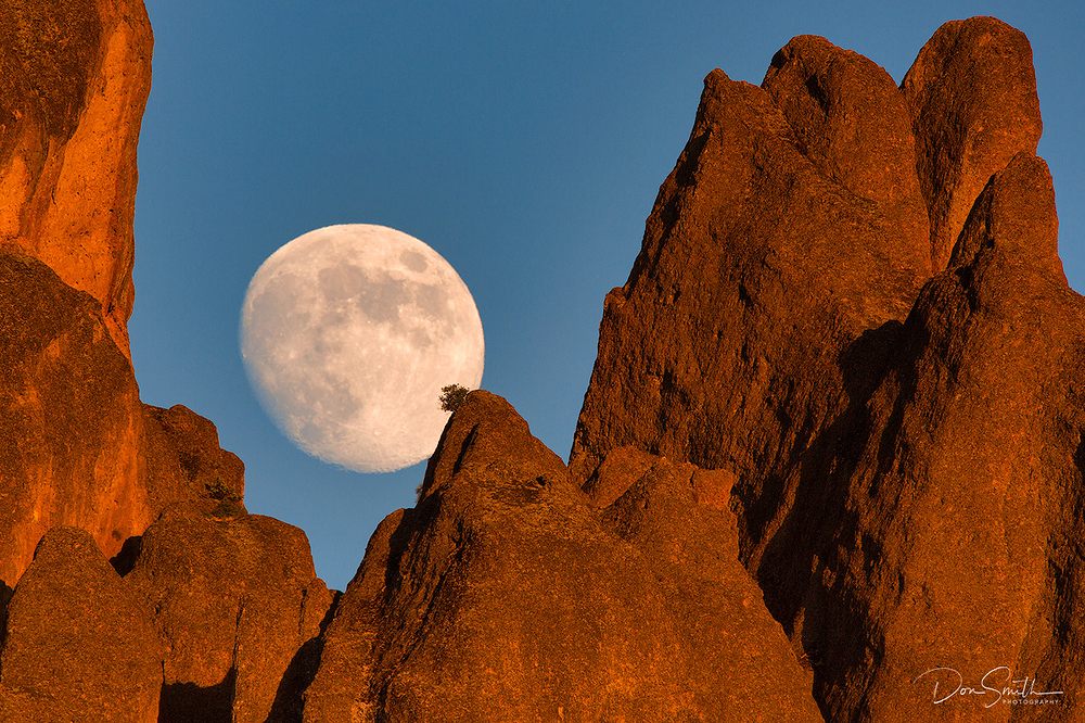 Moonrise Over Pinnacles National Park Western Peak