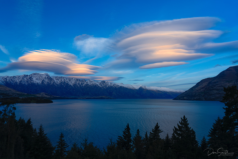 Lenticular Clouds Over Lake Wakatipu, New Zealand