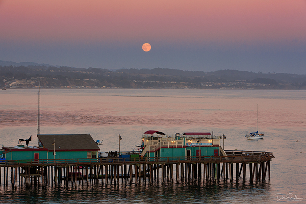 Moonrise Over Capitola Wharf, California
