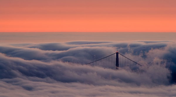 Fog and North Tower at Dusk, Golden Gate Bridge