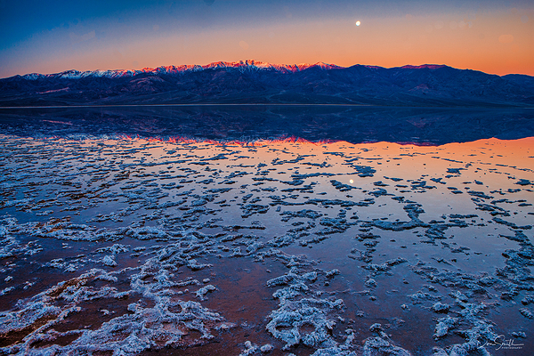 Moonset Over Panamints from Bad Water Death Valley