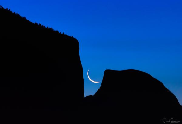Moonrise Behind El Capitan and Half Dome, Yosemite
