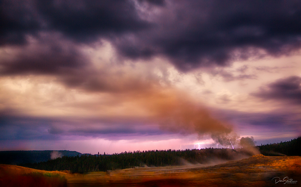 Lightning Strikes Near Old Faithful, Yellowstone