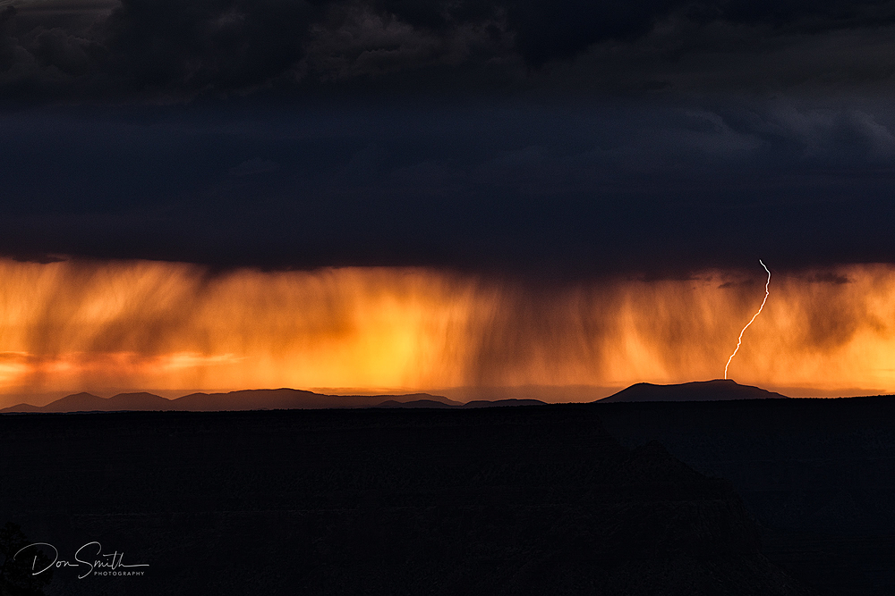 Virga and Lightning at Dusk, Grand Canyon
