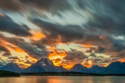Sunset at Jackson Lake, Wyoming