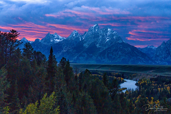 Dusk Sky Over Grand Teton Range, Snake River, WY