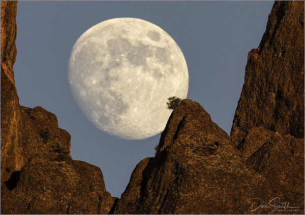 Moonrise Through West Peaks, Pinnacles NP, CA
