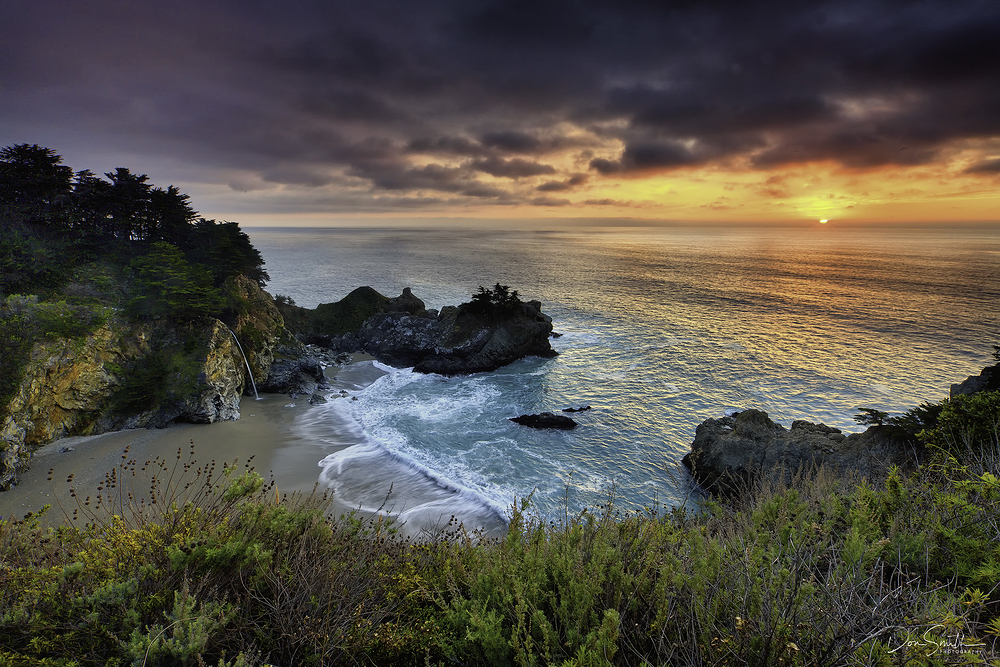 McWay Fall and Winter Sunset, Big Sur Coast