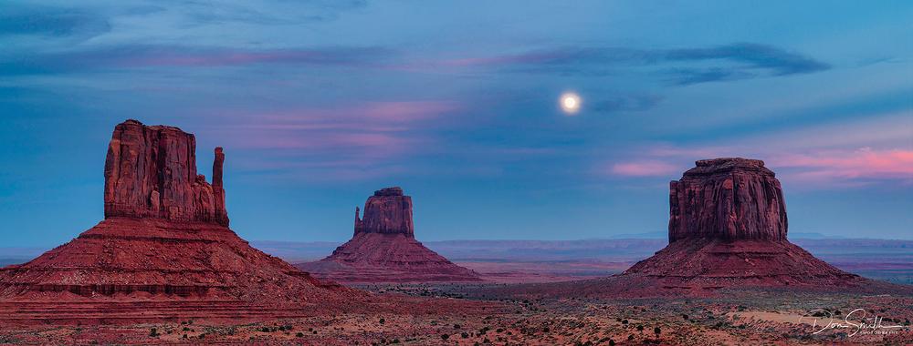 Moonrise Over Mittens, Monument Valley, Arizona