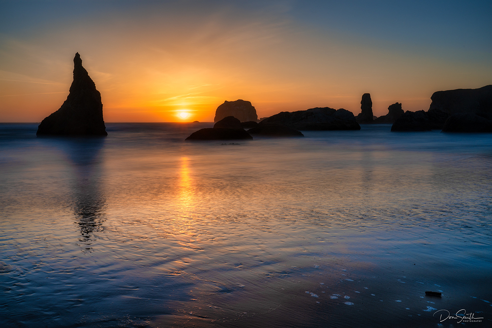 Sunset and Formations, Bandon Beach, Oregon