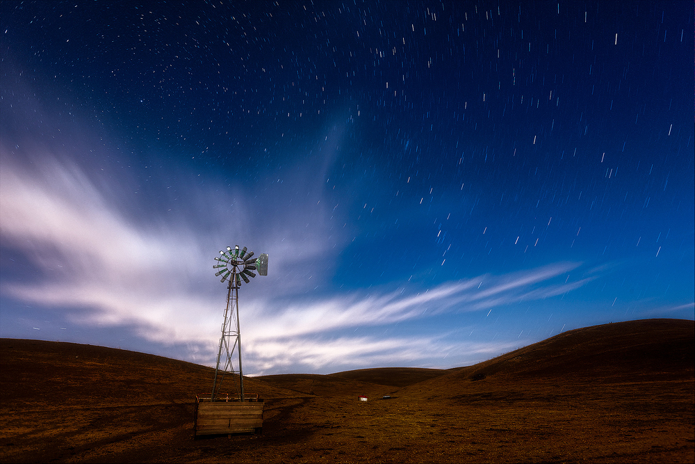 Old Windmill and Night Sky, California