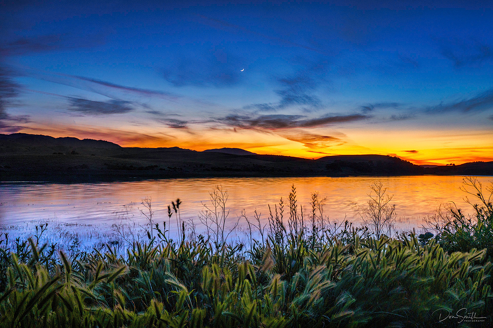 Crescent Moon Over Lake, California