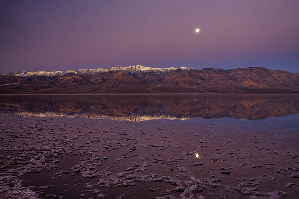 Moonset Over Badwater Basin, Death Valley, CA
