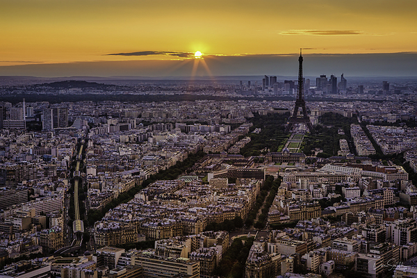 Sunset Over Paaris and Eiffel Tower