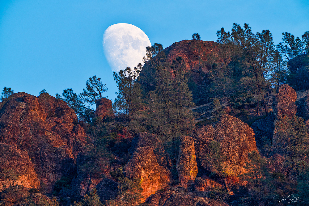 Moonrise Over High Peaks, Pinnacles NP