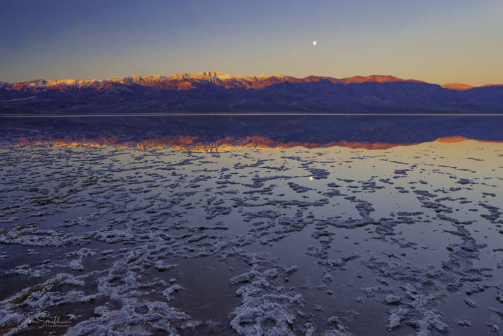 Badwater Moonset at Sunrise, Death Valley NP