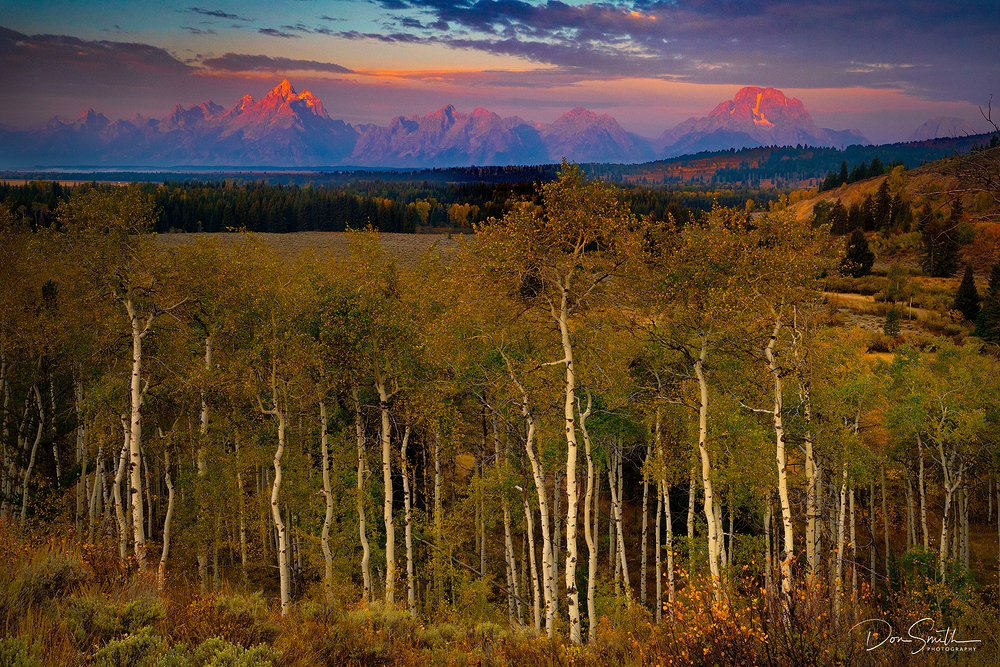 Fall Sunrise on Teton Range, Wyoming