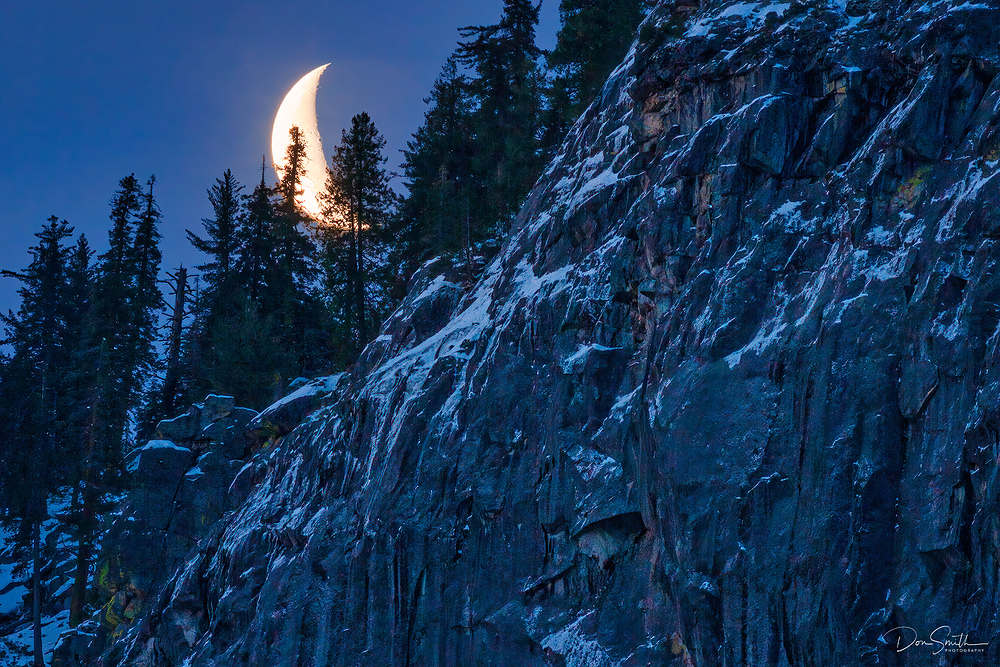 Crecent Moon Rising in Yosemite National Park