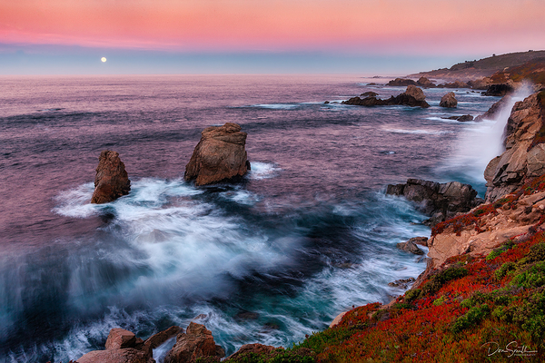 Moonset Along Big Sur Coast at Dawn, California