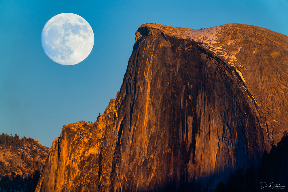 Full Moon Rising Next to Half Dome, Yosemite NP