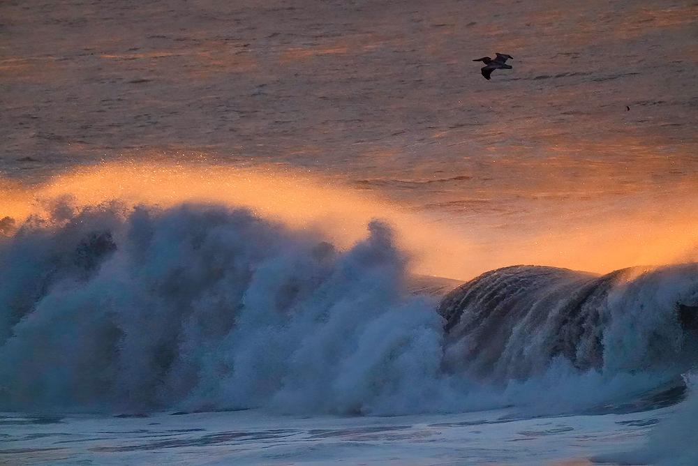 Sunrise-Lit Waves, Avila Beach, CA