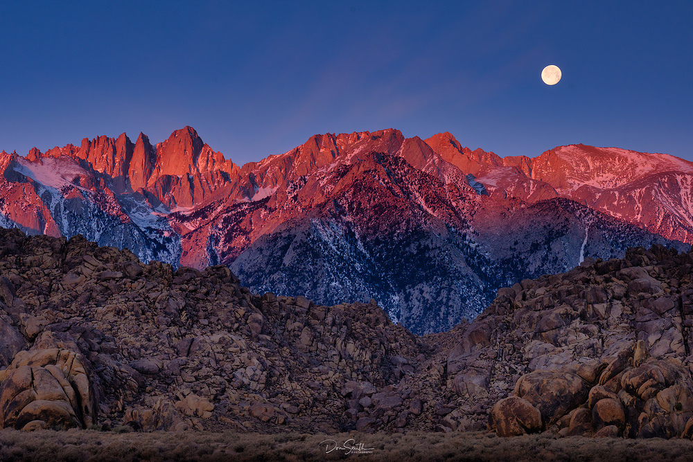 Moonset and Mt. Whitney, Eastern Sierra, CA