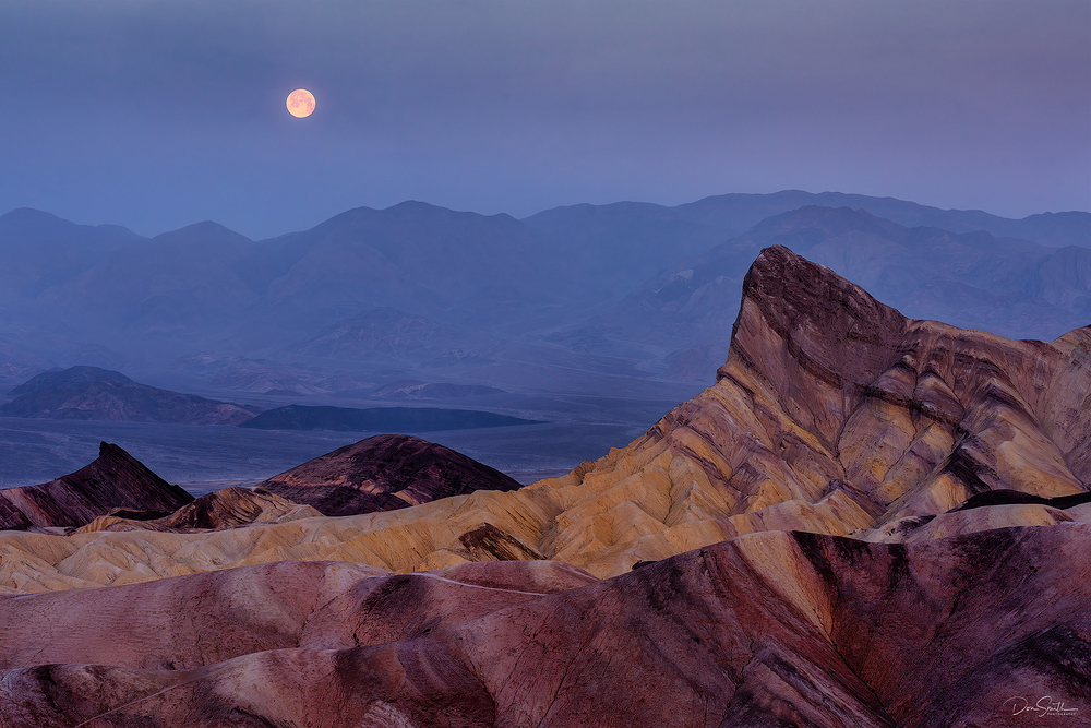Setting Moon From Zabriskie Pt., Death Valley
