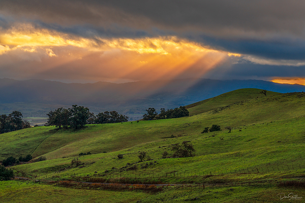 Crepuscular Rays and California Spring Hills