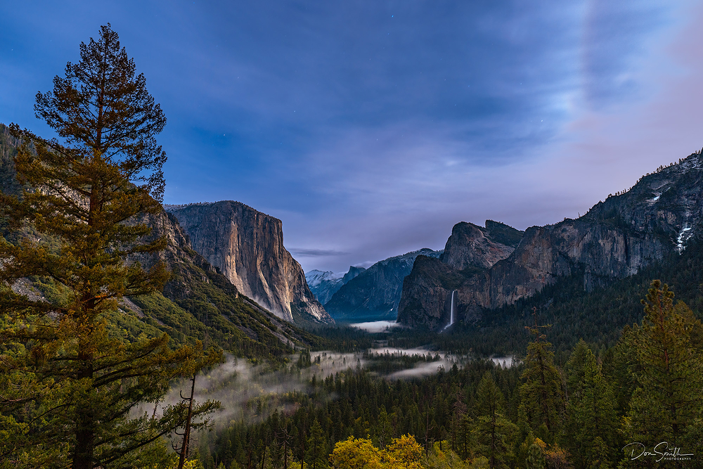 Yosemite NP Valley Under Moonlight