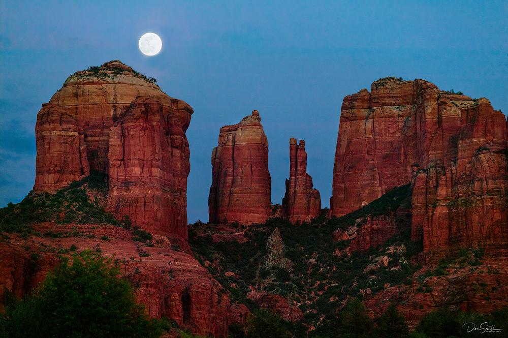Moonrise Over Cathedral Rocks, Sedona, AZ