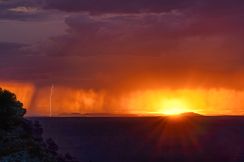 Lightning Bolt at Sunset, Grand Canyon, South Rim