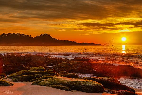Sunset Over Pt Lobos from Carmel River Beach, CA