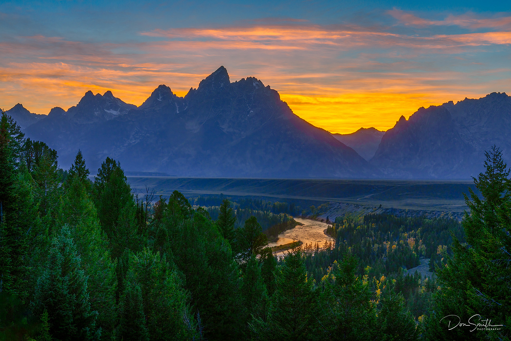 Dusk Sky Over Grand Teton and Snake River