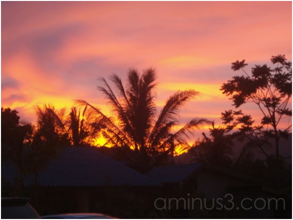 Sunset from our home in Chalong, Phuket, Thailand