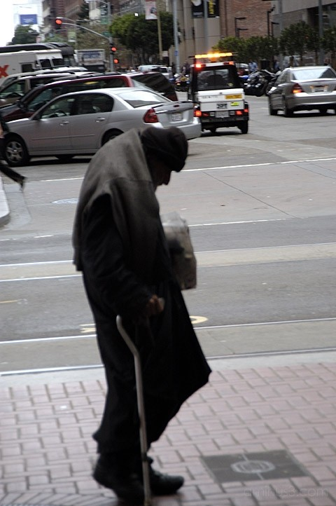 Old man on streets of San Francisco