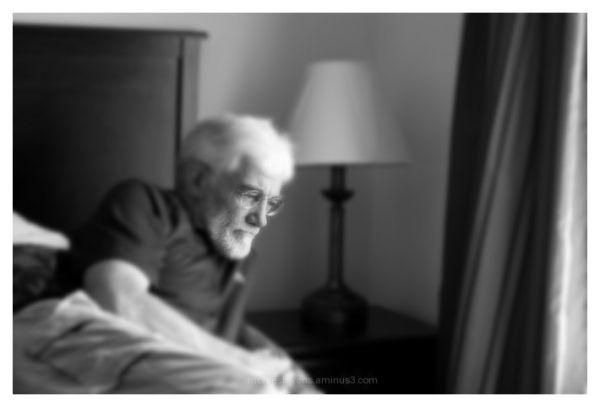 Self-portrait in hotel in black and white