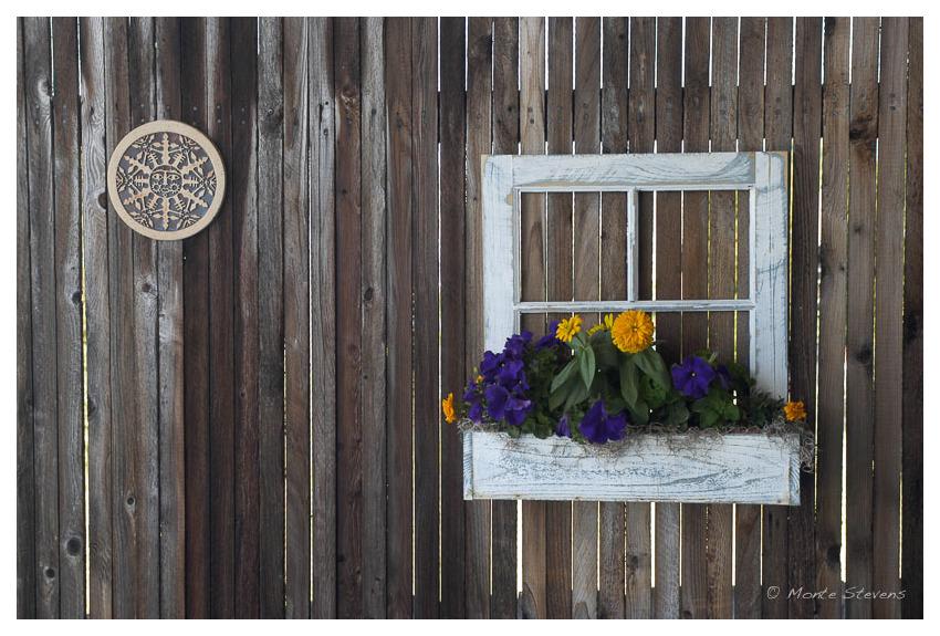 A false window on a fence
