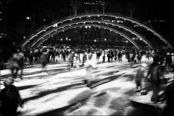 A free skate downtown at Nathan Phillips Square.