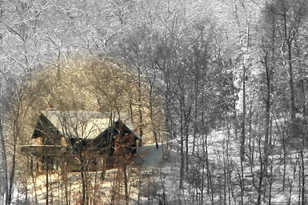 House Highlighted in Snow