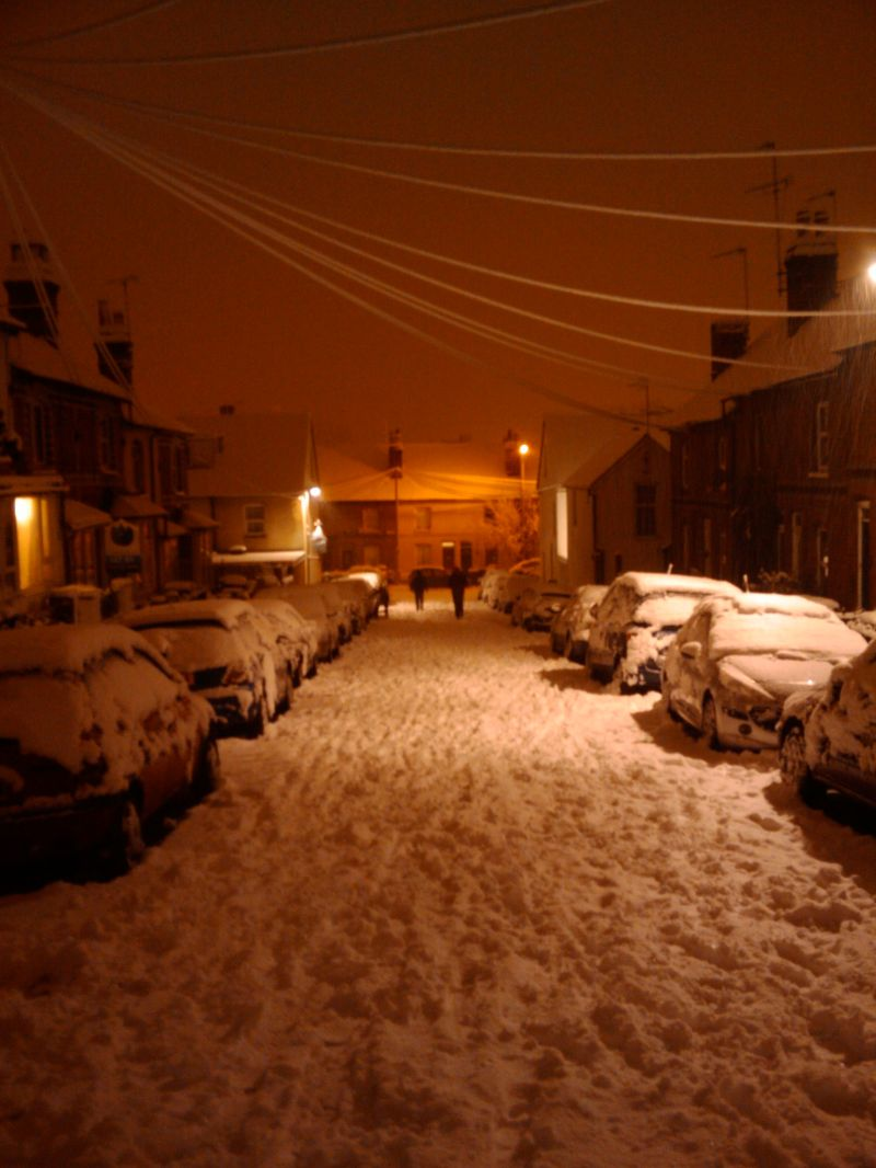 Snow on the streets at night