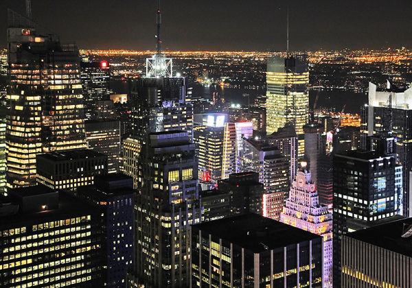 Buildings of Manhattan (New York) at night