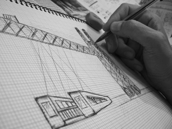 Boceto - Puente colgante