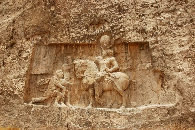 NAQSH-E ROSTAND-A SASSANID KING DEFEATING  THE ROM