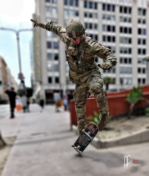 Soldier on a surfboard